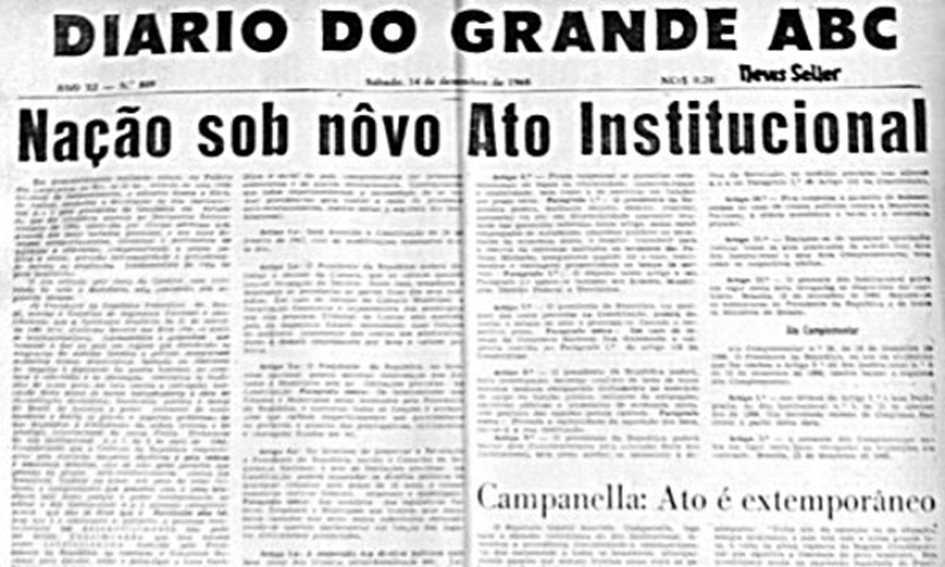 Capas do Diário do Grande ABC são reunidas em exposição que viaja pelos 50 anos do golpe militar. Arquivo/DGABC Diário do Grande ABC. Reprodução dehttps://www.dgabc.com.br/Noticia/518005/paginas-de-jornal-para-recordar-a-historia